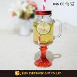 vaso di muratore di vetro della maniglia 600ml con la base