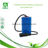 Lithium-Typ 18650 7.4V 7.2V 2s1p 2200mAh nachladbare Batterie-Satz mit Verbinder