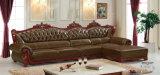 Sofá de Europa, sofá de couro, sofá de madeira, sofá de América (A37)