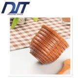 Tazza di legno naturale dell'isolamento antisdrucciolevole creativo su ordine dell'impronta