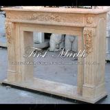 Cheminée en pierre de marbre Mfp-1012 de lumière d'or de désert de cheminée de granit