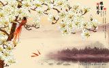 Gelukkige Blije Vrolijke Lively Actieve Levendige Kleine Vogels die en op de Bomen ModelNr springen spelen van de Pruim.: Wl-0212