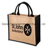 Fashion Burlap Handbag Wholesale Custom imprimé promotionnel grand sac de jute Sac à dos réutilisable Shopping Tote Bags