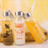 bottiglie di vetro beventi glassate marchio personalizzate 300ml dell'acqua con i coperchi