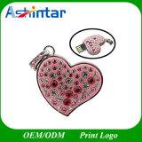 Lecteur flash USB de cristal de collier de disque du coeur USB de bijou