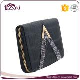 女性のための方法黒い札入れ、PUの革ジッパーの札入れの財布の卸売