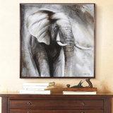 Peinture à l'huile d'éléphant noir et blanc
