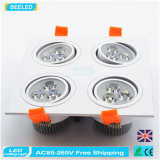 poder más elevado de aluminio natural Dimmable LED Downlight de la casilla blanca 12W