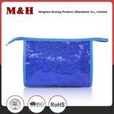Impermeable azul de nylon manchado PU promoción cosmética bolsa