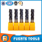 Molino de extremo sólido del carburo de tungsteno de 4 flautas para para corte de metales