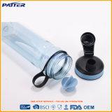 Tazas plásticas de consumición al por mayor de la botella 16oz de la promoción con las tapas y la paja