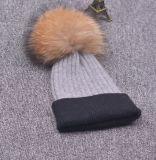 Raccon 모피 자동 고사포를 가진 온난한 모직 모자 모자