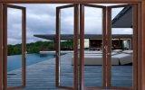 スクリーンが付いているアルミニウム二重ガラステラスの折れ戸
