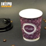 Польза чашки пульсации для бумажного стаканчика пульсации чашки 12oz Dispossable питья горячего устранимого вертикального