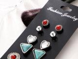 Jogos do brinco do parafuso prisioneiro da folha do vintage para De de cristal Aros de turquesa das mulheres e de Pedra Ajuste vermelho