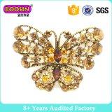 Brooch de cristal do Pin da borboleta do metal feito sob encomenda do ouro para a mulher