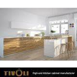Vor zusammengebauter festes Holz-Küche-Schrank mit weißem Farbanstrich-Inselentwurf Tivo-01040h