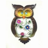 Black Metal Owl Garden Wall Craft with Color Stone Eye