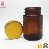 Botella de empaquetado de cristal farmacéutica de la boca ancha ambarina de la venta directa de la fábrica con el tapón de tuerca de oro