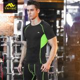 Camisa de la compresión de los hombres con las camisas de la aptitud de la gimnasia del acoplamiento