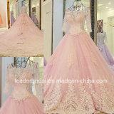 2017의 분홍색 신부 드레스 3/4의 소매 투명한 결혼 예복 Lb285