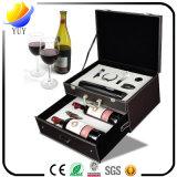 Kundenspezifischer Verpackungs-Kasten-erstklassiger lederner Doppelwein-Kasten