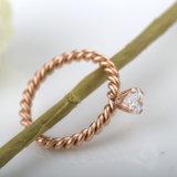 패션 악세사리 한 쌍 보석에 의하여 길쌈되는 로즈 금 다이아몬드 반지