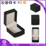 Caixa de jóia de papel de madeira de Velet do couro luxuoso da fita