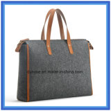 Sacchetto di mano di cuoio portatile ecologico di acquisto delle lane Felt+PU di disegno semplice, sacchetto di Tote molle personalizzato con la maniglia comoda di cuoio