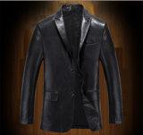 Блейзер синего пиджака PU людей черный