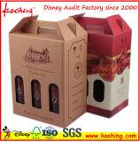 Fabrik-Wellpappen-Wein-Kasten mit Griff u. Fenster für das drei Flaschen-Wein-Verpacken