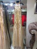 Платье выпускного вечера вечера Sequin ненавистника золота длиннее отбортовывая