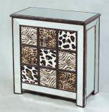 Tableau d'extrémité reflété cinq par tiroirs avec le bas en bois