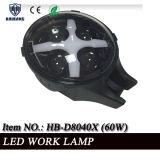 Las lámparas de 6 pulgadas LED para el salto, negro redondo 60W IP68 del jeep campo a través 4X4 impermeabilizan la luz auto del trabajo del vehículo LED