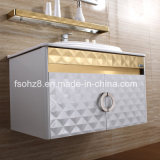 Vanità bianca dorata della stanza da bagno dell'acciaio inossidabile di modo con la mensola (081)