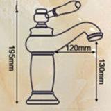 Misturador cerâmico dourado da bacia da embarcação do banheiro da alavanca de Flg Rosa