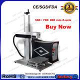 máquina de grabado portable del laser de la fibra 30W en el acero inoxidable con rotatorio