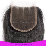 Закрытие шнурка верхнего качества индийское 3 части волос девственницы