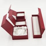 Silberner stempelnder PUlederner Leatherette-Papier-Geschenk-Kasten (J40-E1)