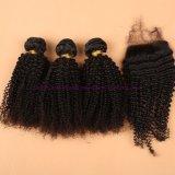 capelli ricci crespi brasiliani del grado 8A con i gruppi dei capelli umani della chiusura con la chiusura del merletto nessun Tangle&Shedding