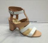 Sandalias cuadradas simples de las mujeres del talón del cuero de la señora cabrito