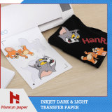 Fácil de corte de papel de transferencia de calor camiseta oscura de algodón