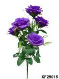 Solo vástago de la flor artificial/plástica/de seda de Rose con 5 ramas (XF29015)