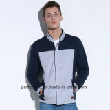 Contrasto Color Mens Cotton Terry Jacket con Zipper Placket