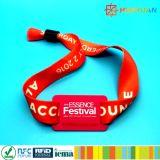 Wristband tecido RFID do bracelete do E-bilhete NTAG213 NFC do festival de música