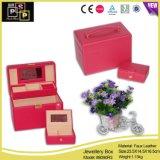 Caixa de jóia de couro da caixa de jóia do metal do plutônio ajustada (8090)
