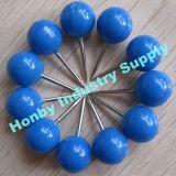 Pin en plastique solide bleu de poussée de carte de tête de bille de la couleur 10mm*20mm