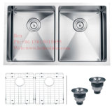 Edelstahl-Radius des Zoll-30X19 unter Montierungs-Gleichgestellt-Doppelt-Filterglocke-handgemachter Küche-Wanne