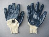 Перчатка работы запястья руки Knit голубого нитрила покрытая