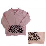 Розовая пурпуровая застежка-молния Hoody малышей Терри (A493)